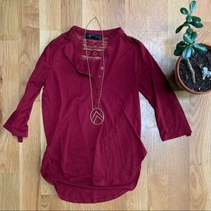 Almost Famous Cranberry Henley with Laser Cutouts